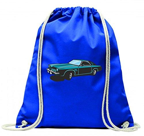 Turnbeutel hot Rod Sportwagen Oldtimer Young Timer Shellby Cobra GT Muscel Car America Motiv 9823 mit Kordel - 100% Baumwolle- Gymbag- Rucksack- Sportbeutel Blau 5JkYJQp3D