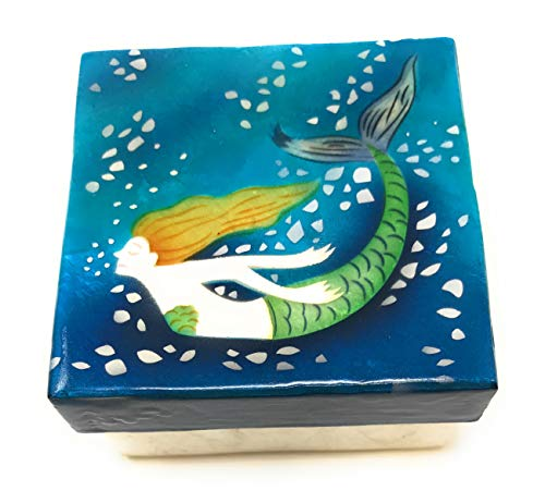 Kubla Craft Underwater Mermaid Capiz Shell Keepsake Box, 3 Inches Square