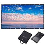 Instahibit 150'' 16:9 Portable Front Projection Screen Foldable PVC 3D 4K HD with Holes Home Theater Yard Camping