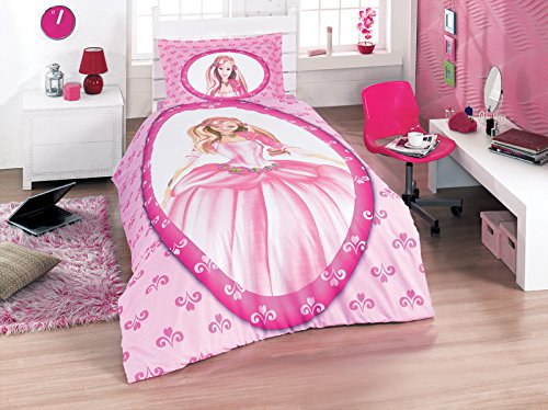 100% Cotton Princess Bedding Set, Single/Twin Size Girls Quilt/Duvet Cover Set, Girl's Bedding Linens, Made in Turkey, Pink, Fitted Sheet Included (5 PCS)