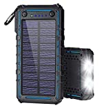 #9: Solar Charger, Solar Power Bank, 13500mAh Portable Solar Phone Charger External Solar Panel Battery Pack Phone Charger with Dual USB and 2 LED Flashlights for iPhone X, Samsung S9/Note 8 and More
