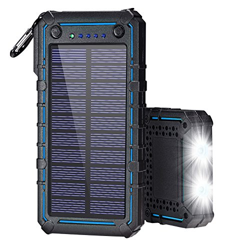 Solar Charger, Solar Power Bank, 13500mAh Portable Solar Phone Charger External Solar Panel Battery Pack Phone Charger with Dual USB and 2 LED Flashlights for iPhone X, Samsung S9/Note 8 and More by Ayyie