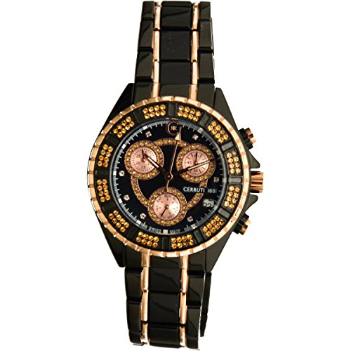 Cerruti 1881 Ladies Chronograph Watch Black Rose Gold Tone with Ceramic Strap Diamond CRWM032V281Q