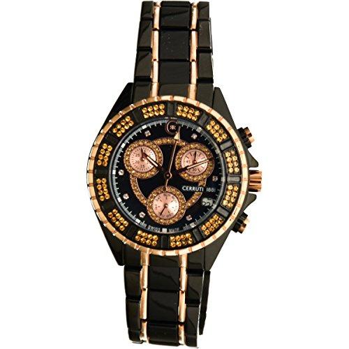 Cerruti 1881 Ladies Chronograph Watch Black Rose Gold Tone with Ceramic Strap Diamond CRWM032V281Q