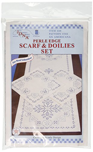 Jack Dempsey Stamped Dresser Scarf and Doilies Perle Edge, XX Americana