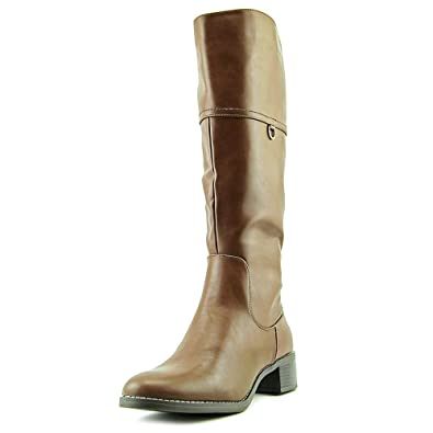EASY STREET Womens SCOTTSDALE PLUS Brown Mid Calf Synthetic Leather Boots 6 M