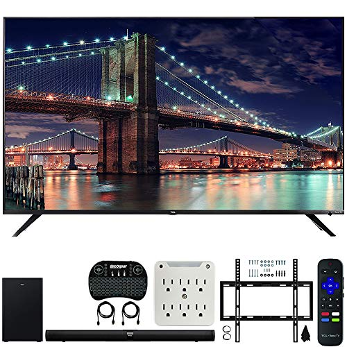 TCL 65R617 65-inch Class 6-Series 4K HDR Roku Smart TV Bundle Alto 7+ 2.1 Channel Sound Bar, Wireless Keyboard, Deco Mount Wall Mount Kit and 6-Outlet Surge Adapter