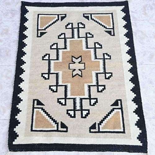 Two Grey Hills Navajo Rug Circa 1970's Two Feet x Three Feet One-of-a-Kind 0011
