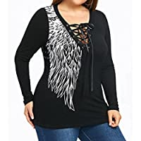 Litetao Women Lace up v-neck Tops Wing Print T-Shirt Long Sleeve Plus Size Blouse