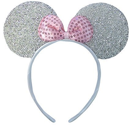 Sequin Minnie Mouse Ears (Silver Glittery Sparkly Minnie Mouse Ears Fancy Dress Headband by DangerousFX)