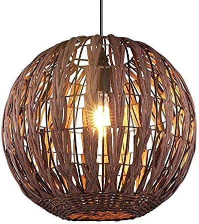 HAIXIANG Bamboo Pendant Lamp Dining Room Chandelier Ceiling Light Wicker Weave Light Fixtures Brown Lamp Hallway with Bulb