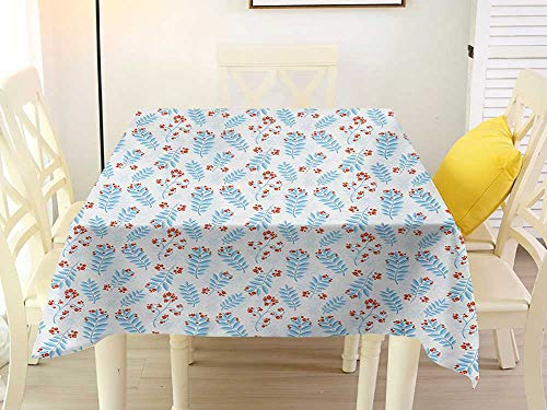 Anti-Wrinkle antifouling Fabric Square Tablecloth Winter Seasonal Ash Berry and Blue Toned Foliage Leaves Snowflake Background Pale Blue Vermilion White Western 70 x 70 Inch