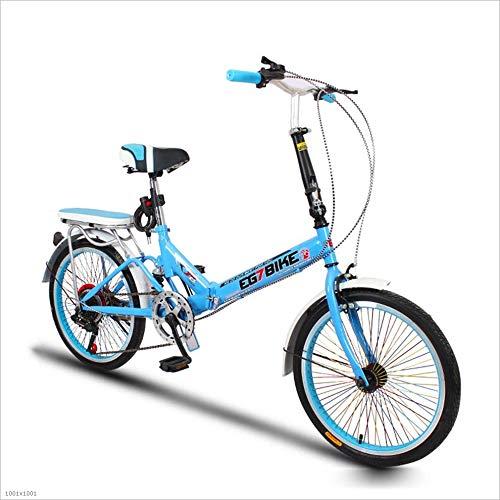 Blau MuMa Fahrrad, 20 Zoll Kann Gefaltet Werden Variable Geschwindigkeit Ultraleicht Stoßdämpfung Erwachsene Studentin Platz Sparen Verdickte Rohrwand (Farbe   Blau)