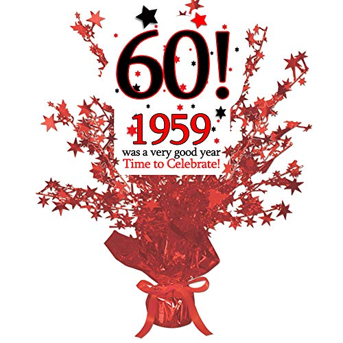 1959-60th Birthday Red Star Centerpiece (Each) by Partypro