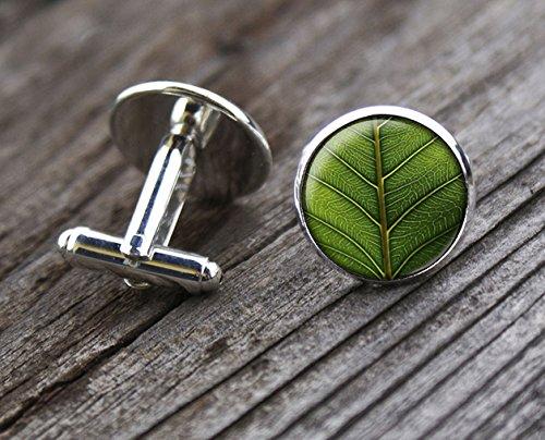 Green Leaf Cufflinks,Leaf Cufflinks,Plant Cufflinks,Handmade Cufflinks,Glass Round Silver Cufflinks,Charm Jewelry,Shirt Cufflinks,Men Cufflinks,