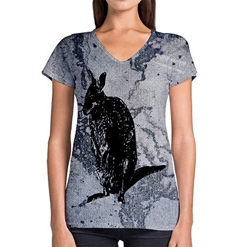 Idakoos Animal Macropod 3D - Women V-Neck T-Shirt Polyester Novelty (Macropod Animals)