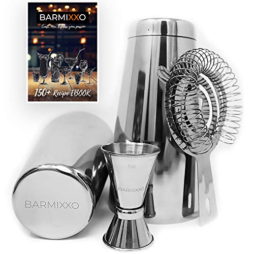 Mini Cool Tool Set (4 Piece Boston Shaker Set By BARMIXXO/150+ Drink Cocktail Recipe (Ebook)/Bartender Tools For Professional and Home Bar/Jigger and Strainer)