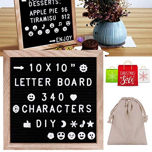 Felt Letter Board,10x10'' Black Changeable Letter Boards with White 340 Letters & Symbols & Emoji's & Fun Images - Oak Frame for Your Restaurant/Office Or Home -