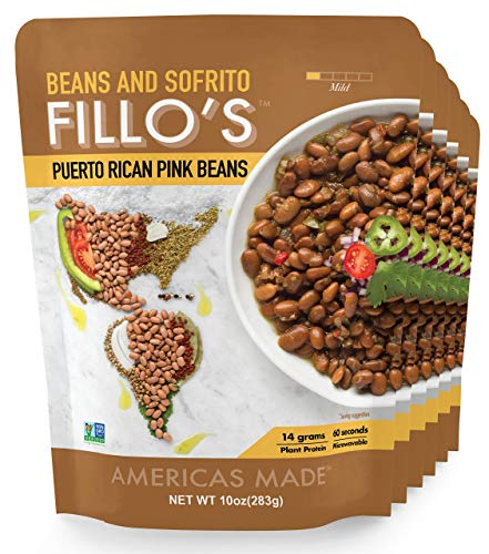 FILLO'S Puerto Rican Pink Beans, Ready to Eat Sofrito Beans, 6 Count, 10 Ounces Each, Seasoned with Fresh Vegetables, Microwavable, Non-GMO, Vegan, Plant Protein (Authentic Puerto Rican Rice And Beans Recipe)
