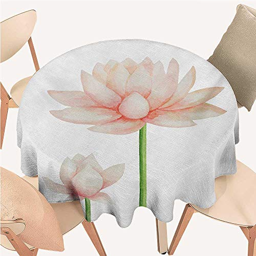ScottDecor Yoga spillproof Pastel Colored Blooming Lotus Flower Romantic Fresh Garden Plant Spa Theme Circular Table Cover Peach Green and White