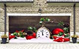 Billboard for 2 Car Garage Door Murals Holiday Christmas Clock Garage Door Covers Banners Outdoor Full Color 3D Print Christmas Decorations House Decor size 82x188 inches DAV27