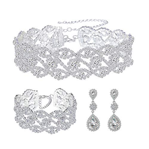 Paxuan Women Silver Rhinestone Crystal Wedding Bridal Choker Necklace Earrings Bracelet Jewelry Sets
