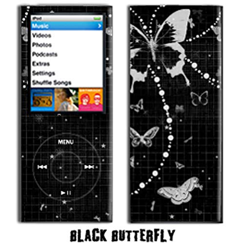 - MightySkins Protective Vinyl Skin Decal Cover for Apple iPod Nano 4G (4th Generation) wrap sticker skins - Black Butterfly