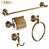 WINCASE Modern Style 4 Piece Bath Hardware Accessory Set of High Grade Brass Antique Brass Finish Suitable for Bathroom Toilet including Towel Bar Towel Ring Toilet Paper Holder and Clothes Hook