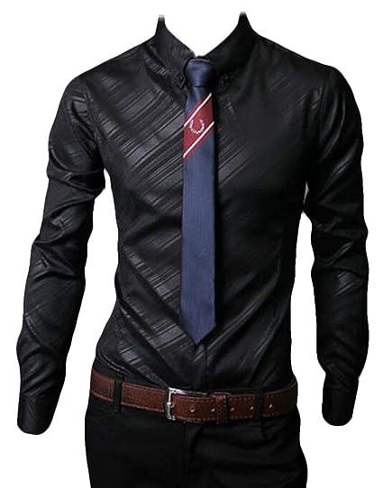 BU2H Men Long Sleeve Cotton Casual Business Button Up Dress Oxford Shirt