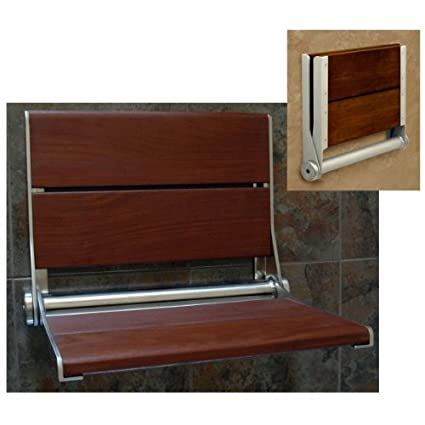 Amazon.com: Invisia SerenaSeat Fold-Away Brazilian Walnut Shower ...