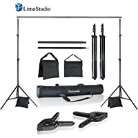 LimoStudio Photo Video Studio 10 ft. Width Adjustable Background Stand Backdrop Support Structure System Kit with Photo Clamp and Sand Bag, Photography Studio, AGG2348