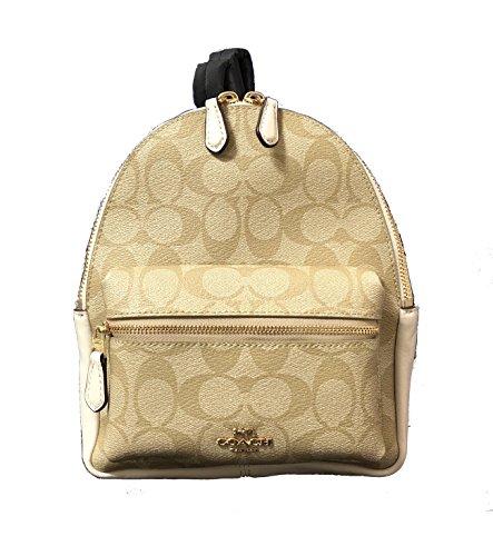 Coach Mini Charlie Pebble Leather Backpack (IM/Light Khaki/Chalk)