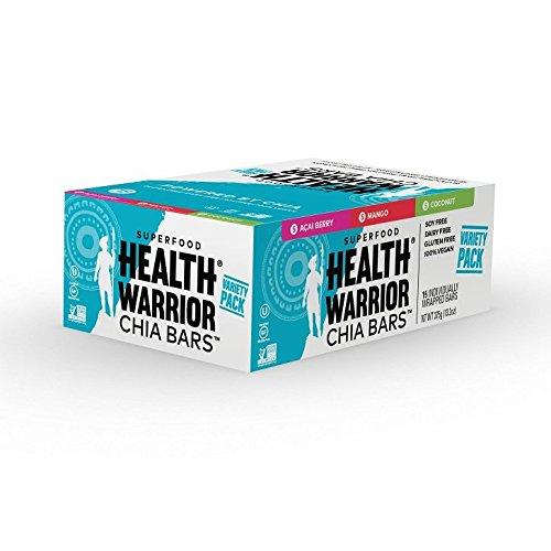 Review HEALTH WARRIOR Chia Bars, Tropical Variety Pack, Gluten Free, Vegan, 25g bars, 15 Count