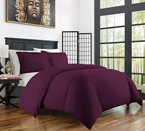 Zen Bamboo Ultra Soft 3-Piece Bamboo Derived Rayon Duvet Cover Set -Hypoallergenic and Wrinkle Resistant - Full/Queen - Purple