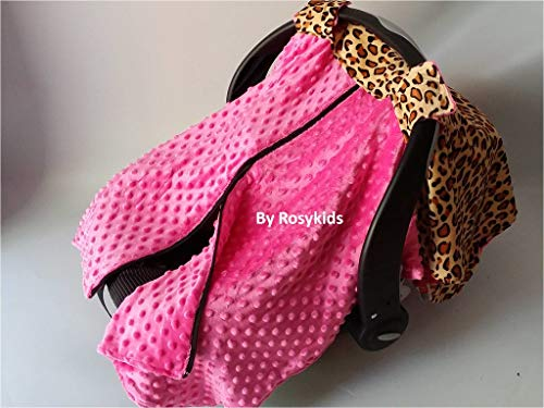 Rosy Kids Infant Carseat Canopy Cover 1pc Wind Proof Baby Car Seat Cover, Sunshade Cover, Boys and Girls, Fits Any Baby Car Seat, Hot Pink and Cheetah Print (Cheetah Baby Car Seat Covers)