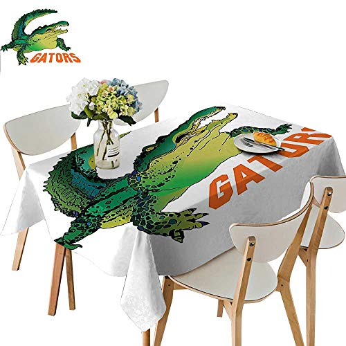 UHOO2018 Polyester Tablecloth Square/Rectangle Grumpy Alligator Has A Word Gator Crocodile Humor Wild Life Safari Aquatic Print Resistant and Waterproof,50x 50inch