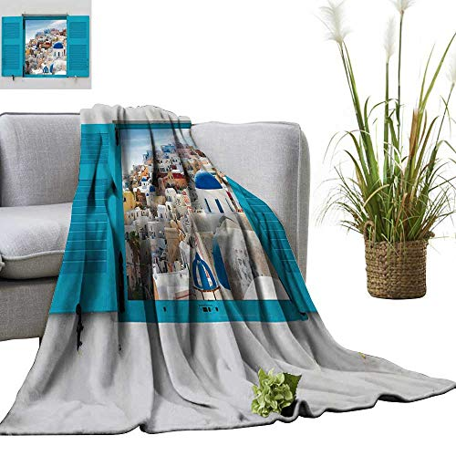 YOYI Travel Blanket Window with Cityscape of Oia,Traditional Greek Village of Santorini,Greece Easy to Carry Blanket 60