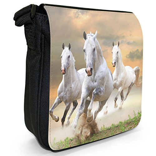 Small Bag Shoulder Of Size White Stunning Canvas Team Running Black Stallion Horses Superb gw80q6Iq