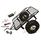 Integy RC Model Hop-ups C26340BLACK Realistic Leaf Spring 1/10 Size Low Side Trailer (Toy) for Scale Crawler Truck