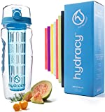 Hydracy Infuser Water Bottle with Full Length Infusion Rod and Insulating Sleeve Combo Set + 25 Fruit Infused Water Recipes eBook Gift - Large 32 Oz Sport Bottle - Artic Blue