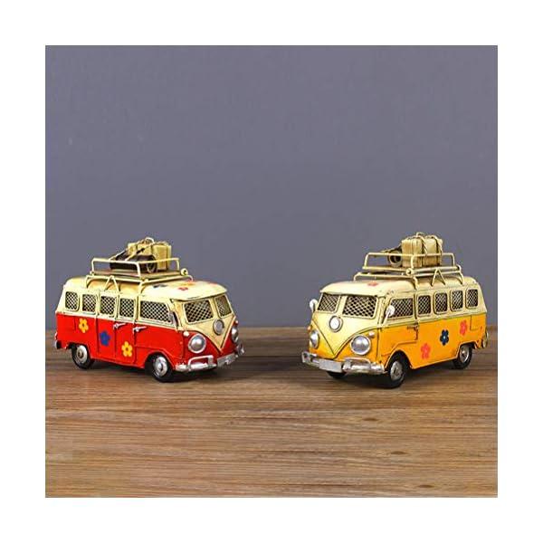 51nQoqmuBSL VOSAREA Eisen Sparschwein Vintage Zinn Bus Kindheit Speicher Metall Kunst Geschenk Home Decoration (rot)