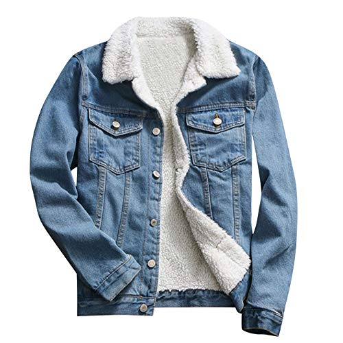 JESPER Women Autumn Winter Denim Upset Jacket Vintage Casaul Warm Loose Jeans Coat Blue (Womens Brown Leather Bomber Jacket With Hood)
