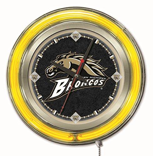 Neon Clock Broncos - Holland Bar Stool Company NCAA Western Michigan Broncos Double Neon Ring 15-Inch Diameter Logo Clock