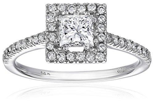 14K White Gold Princess-Cut Center Diamond Ring (1 cttw) , Size 7