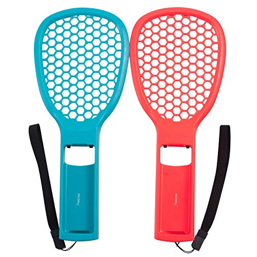 Tennis Racket for Nintendo Switch Joy-Con Controller by Insten Twin Pack Set Joy Con Tennis Racket for Nintendo Switch Mario Tennis Aces Game Accessories (Blue/Red) with Adjustable Wrist Straps