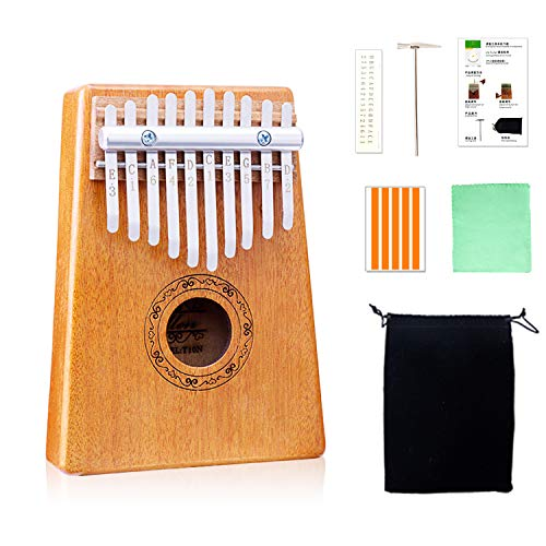 10 Key Kalimba Thumb Piano | Beautiful Mahogany Thumb Harp | An African Thumb Piano For Kids Is A Perfect Introduction To Music | The Traditional Kalimba Instrument Is Perfect For A Beginner