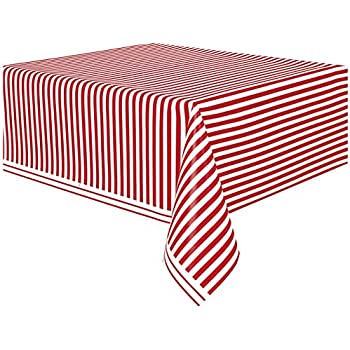 Attirant Red Striped Plastic Tablecloth, ...