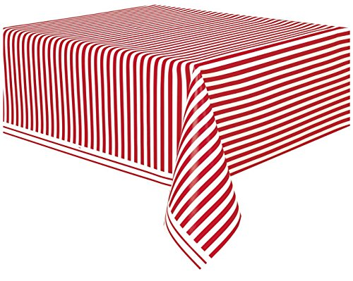 Red Striped Plastic Tablecloth 108