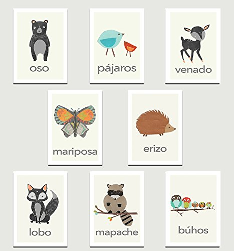 Nature Animals in Spanish Mini Collection Wall Card Prints 08x10 Inch Print, Animals, Flash Cards, Minimalist Design, Calming Colors, Wall Cards, Educational Cards, Children Animal Cards by Children Inspire Design