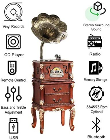 Gramophone Turntable Cd Player Bluetooth Stereo, Built-In Sp